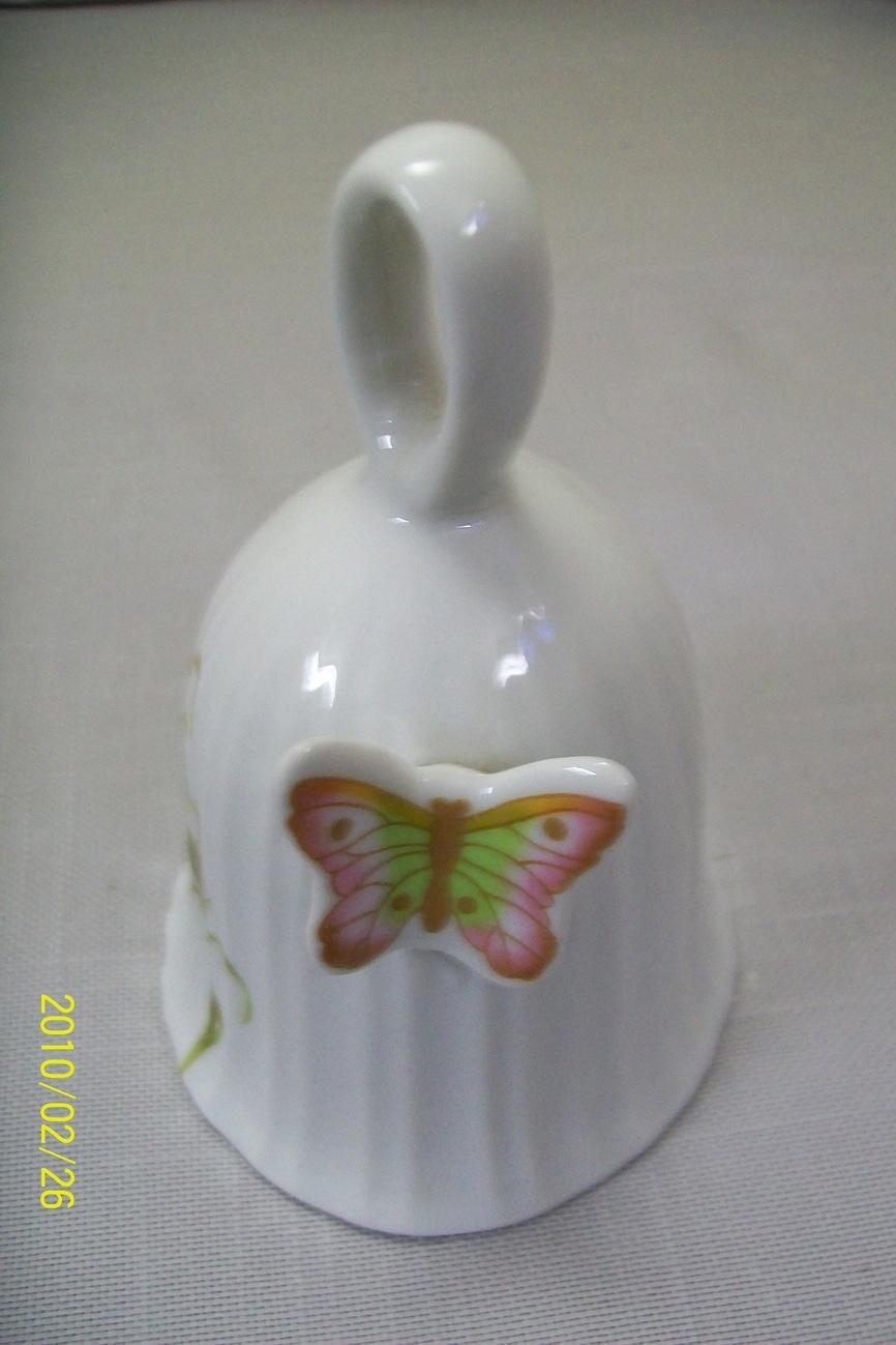 Bell & Jewelry Holder Set Butterfly & Flowers Ceramic