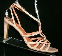 Via Spiga brown leather strappy caged buckle slingback comma heels 8.5M - $37.04
