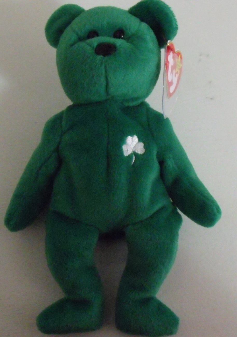 Ty Beanie Babies NWT Erin the Green Bear Retired