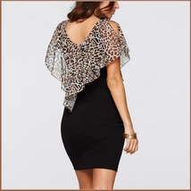 Leopard Print Ruffled Sheer Chiffon Collar Sleeveless Black Pencil Mini Dress image 4