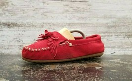 Womens Minnetonka Moccasin Loafers Shoes Sz 8 B Used Red Suede 171868 010 - $9.89