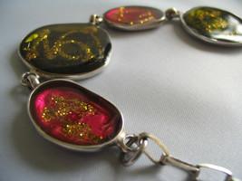 ENAMEL Fashion Bracelet - Yellow Red LARGE BEADS with GLITTER Decoration - $18.00