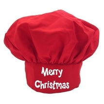 Merry Christmas Red Chef Hat, Red Holiday Toque... - $9.85