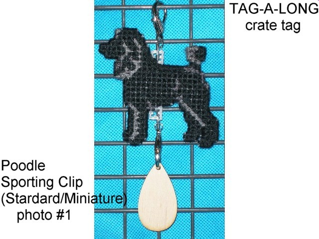 Poodle dog art crate tag hang anywhere, sporting clip cut, miniature, standard