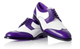 Handmade Men's White And Purple Brogues Style Leather Shoes image 4