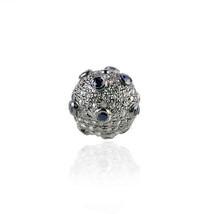 12mm Blue Sapphire Gemstone Bead Ball Diamond Pave Sterling Silver Fine ... - $260.55