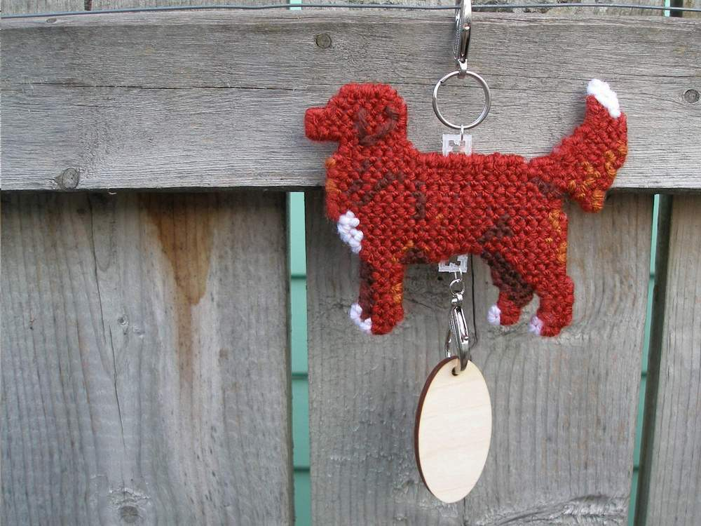 Nova Scotia Duck Tolling Retriever tail up dog crate tag hang anywhere, Toller