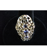 Iolite 3 Stone Filligree Sterling Silver Ring SZ 7.25 - $48.00
