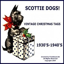 Scottie Dog Gift Tags Vintage Christmas Images on CD - $15.00