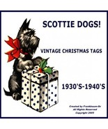 Scottie Dog Gift Tags Vintage Christmas Images on CD - £11.47 GBP
