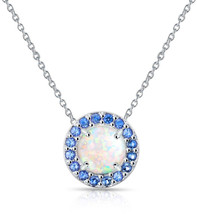 GemStar USA Sterling Silver Simulated White Opal and Simulated Blue Sapp... - $69.20