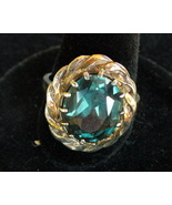 12 X 12 MM Faceted Aquamarine Ring SZ 7.25 - $52.00