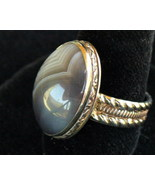 15 x 20 mm Blue Lace Agate Sterling Silver Ring SZ 6 - $24.00