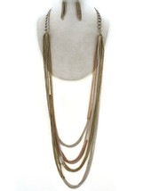 Rustic Chains Tri Tone Antique Gold Silver Brass Link Long Chunky Necklace Set - $9.97