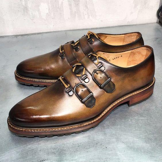 Handmade Men's Brown Monk Strap Dress Formal Leather Shoes