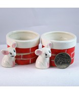 Capri Creations ceramic votive candle holders Christmas mouse brick chim... - $14.89