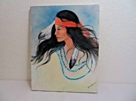 """Indian American native portrait oil painting on canvas 14"""" X 11""""  - $100.00"""