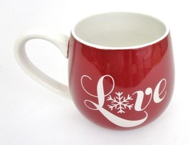 HOME Life Is Good LOVE Mug Coffee Cup Hot Chocolate Tea Red Snowflake Cozy - $19.79