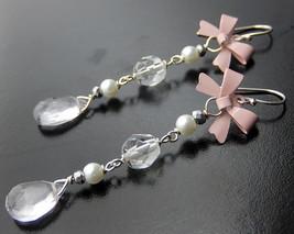 Pink Bow Earrings, Amethyst Drops, Long Romantic Dangle Earrings - $35.00