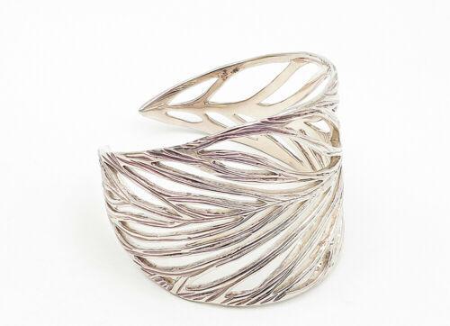 VEVA 925 Sterling Silver - Vintage Open Leaf Designed Wide Cuff Bracelet - B6316 image 5