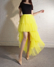 High Low Tulle Skirt Long Layered Tutu Skirt Outfit Plus Size Yellow Hi Low image 2