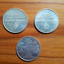 Lot of 3 Vintage Dairy Queen Aluminum Coin Free DQ Sundae or 40 Cents Of... - $12.59