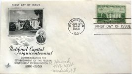 June 12, 1950 First Day of Issue, Art Craft Cover, National Captiol #18 - $2.49