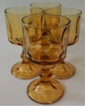 4 Hazel Atlas El Dorado Amber Gold Wine Glasses Goblets Thumbprint Mid Century - $35.63