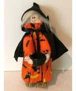 Halloween Witch Broomstick Decoration Wall Hanging Holiday Decor Orange ... - $14.99