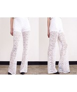WHITE LACE PANTS hippie flare Bell  MEDIUM - $59.00