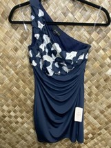 Twenty One Small Navy Blue Cream One Shoulder Floral Bodycon Dress NEW - $19.79