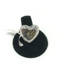 Lia Sophia Silver Tone Ring Textured Large Heart Size 9 NIB - $17.81