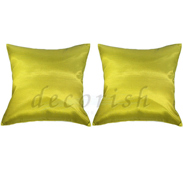 Set 2 Silk Sofa Bed Decorative Pillow Covers - SOLID LIME