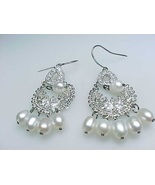 Vintage PEARL, CUBIC ZIRCONIA and Sterling Silver Dangle Earrings - 1 3/... - $68.00