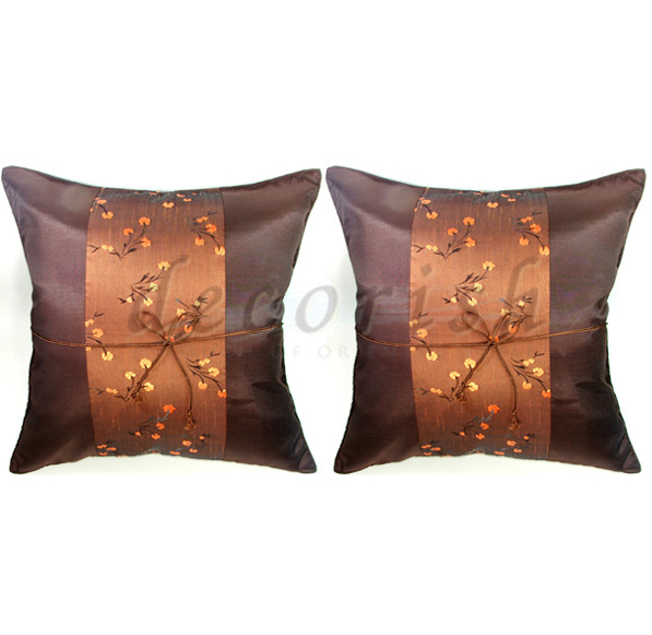 Set 2 BROWN Silk Decorative Pillow Cover with Chinese Floral