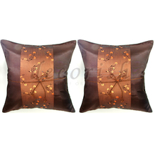 Set 2 BROWN Silk Decorative Pillow Cover with Chinese Floral - $14.99