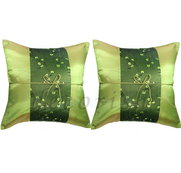 Decorative Pillows For Bed Green : Set of 2 Silk Floral Throw Decorative Pillow Cover for Sofa and Bed Green 16x16 - Pillows