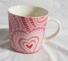Starbucks Original  2005 Paisley Lace White  Red Pink Hearts  16 oz Mug Cup EUC - $13.29