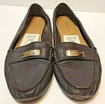 Coach Penny Brown Pebbled Leather Loafer Shoes Size 9B GUC - $33.39