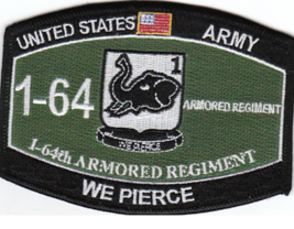 "4.375"" Army 1ST Battalion 64TH Armored Regiment We Pierce Mos Embroidered Patch - $16.24"