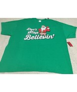 "Men's Christmas T-shirt Santa ""Don't Stop Believin"" Sz 3XL NEW Green - $14.00"