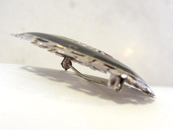 SIAM antique vintage sterling silver enamel brooch
