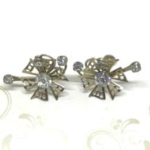 Vintage 50s Screw Back Art Deco Gold Tone Pinwheel Earrings Prong Set Rh... - $14.79