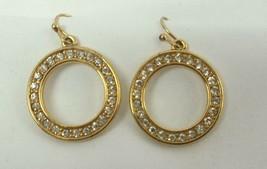 VINTAGE GOLD TONE RHINESTONES PIERCED DANGLE Earrings FASHION APPROX. 1.... - $10.03