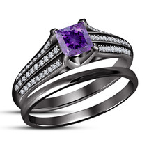 Princess Cut Amethyst 14K Black Gold Fn. 925 Silver Bridal Engagement Ring Set - $75.00