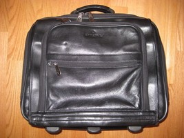 Samsonite leather computer bag, rolling carry on, - $572,56 MXN
