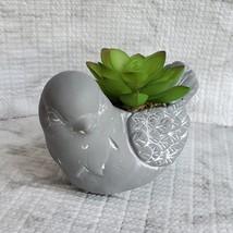 Concrete Planter, Bird with Faux Succulent, Pot & Artificial Plant Arrangement image 6