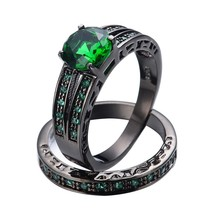 Round Cut Emerald & Diamond 14K Black Gold Over 925 Wedding Her Bridal Ring Set - $93.33