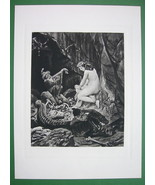 NUDE Nymph Elves Harp & Treasure - SUPERB Antique Print - $23.56