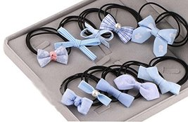 10Pcs Lovely Bowknot Girls Ponytail Holder Women Elastic Hair Ties, Blue